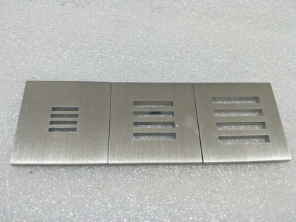 Brushed stainless steel laser cutting with fine slots