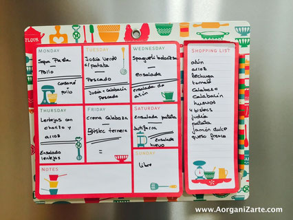 planifica tus menús - AorganiZarte.com