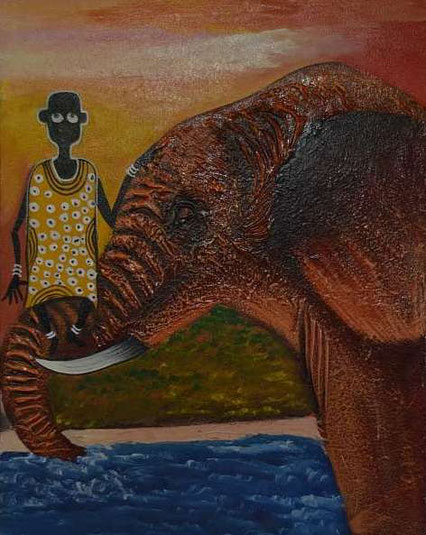 Painted by Dorothy Adroph from Dar es Salaam in Tanzania ( Woodglue, Oil on Canvas)