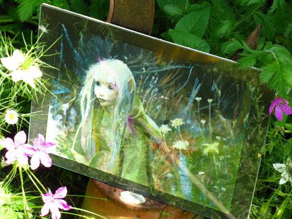 Kira dans la forêt enchantée du monde Thra - Acrylique d'après le Film Dark Crystal