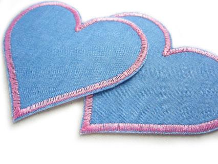 Bild: Herz Aufnäher zum aufbügeln rosa, Flicken für Jeanshosen von Kindern