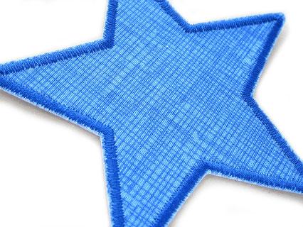 Bild: blauer Stern Patch mit feinen Gitternetzlinien, mit Flicken Stoffflicken nachhaltig Hosne reparieren