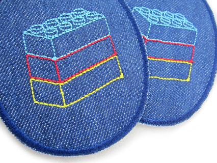 Bild: Jeansflicken zum aufbügeln mit aufgestickten Legosteinen, Hosenflicken für Kinder