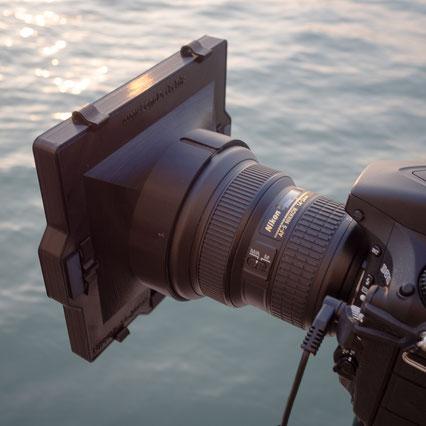 absolut dicht der Filterhalter für das Nikon 14-24mm Objektiv mit dem Abschatter von logodeckel