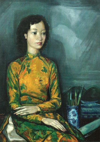 1956. PORTRAIT D'UNE JEUNE ASIATIQUE, HUILE SUR TOILE, Signée, datée,92 x 65cm. Col. privée. C* GALERIE PENTCHEFF