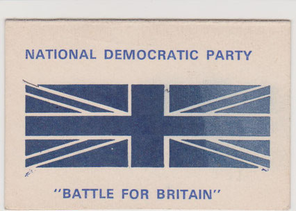 National Democratic Party membership card 'Battle for Britain'