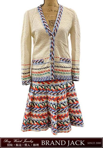 シャネル カーディガン&プリーツスカート セットアップ P53899 P54120 洋服を仙台で高額買取