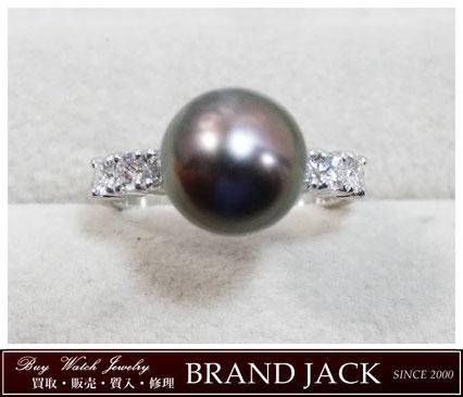 仙台|ブラックパール 黒蝶真珠 メレダイヤ Pt900 リング 指輪を高額買取