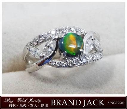 仙台|ブラックオパール メレダイヤ リング 指輪 pt900を高額買取
