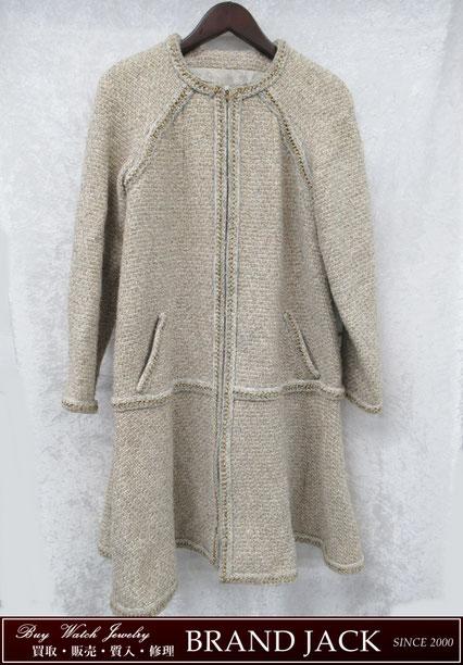 シャネル ツイードコート P55207 ベージュ×ゴールド洋服を仙台で高額買取