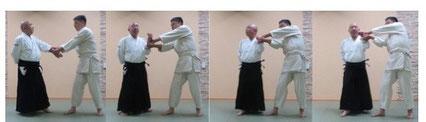 画像① 左半身諸手取り外転換で右半身陰の魄氣で氣結び