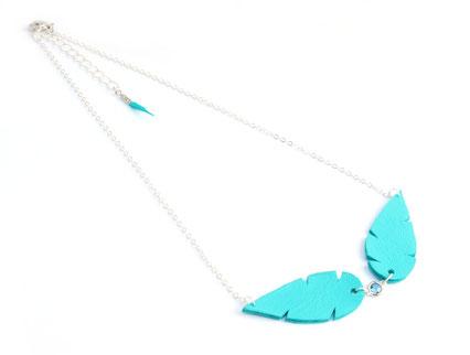 bijoux cuir, création bijoux, bijoux de créateur, créateur bijoux, sarayana, plumes cuir, collier turquoise, bijoux turquoise, bijoux plume cuir,