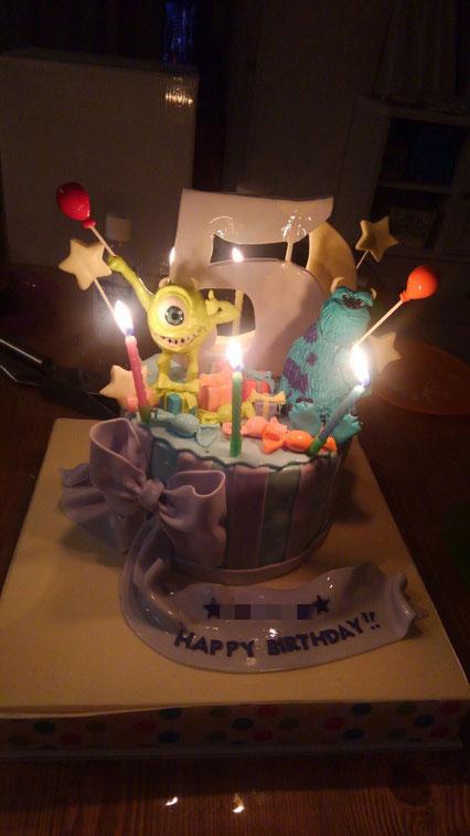 Happy 5th Birthday🎈 #サリー  #マイク #モンスターズインク #5歳誕生日 #可愛い女の子 #写真とても嬉しい #マイク食べられてた😍 #写真ありがとうございます #誕生日ケーキ #fondantcake #monstersinc #fondantfigure #bdcake #charactercake #japancake #japanese