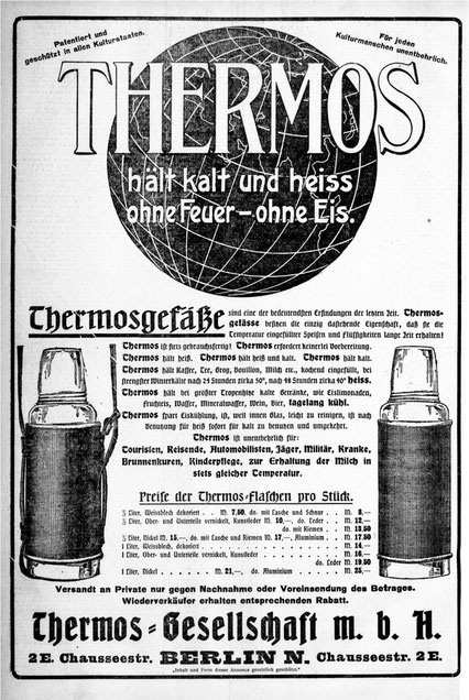 Erste Thermoswerbung ab 1907 in der Tagespresse