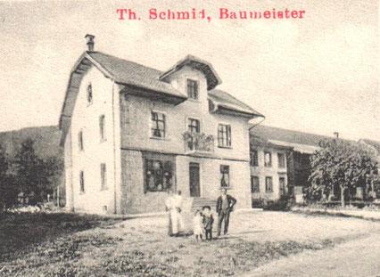 """Theodor und Luise Schmid (""""Zimber"""") mit den Kindern Werner, Olga und Lydia (Ausschnitt aus einer Postkarte von 1914)"""