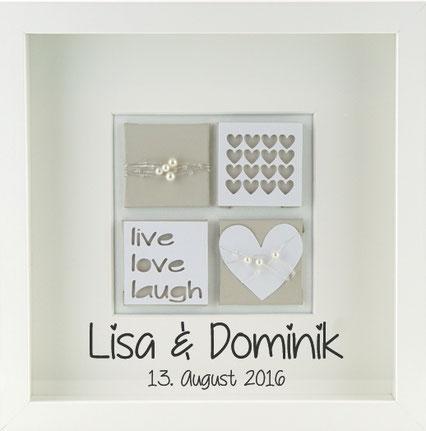 personalisiertes Hochzeitsgeschenk Hochzeitsbild live love laugh beige