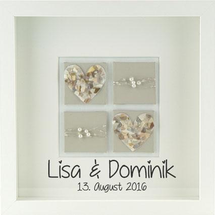 Personalisiertes Hochzeitsgeschenk Hochzeitsbild Moasik herz