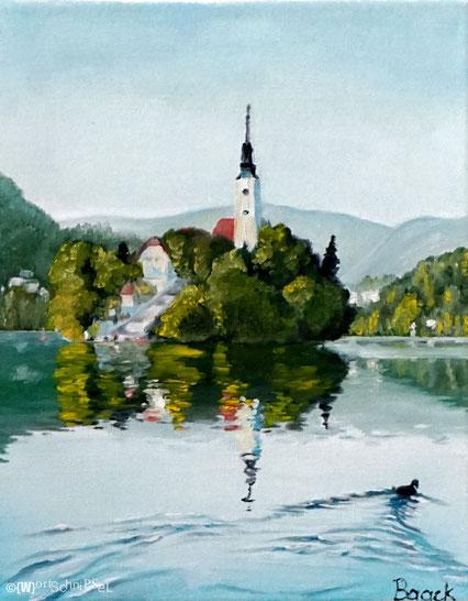 Bled, Öl auf Leinwand (30 cm x 24 cm)