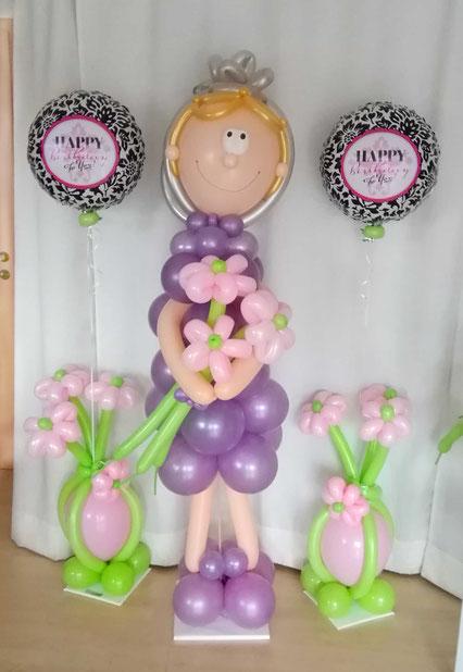 Luftballon Ballon Dekoration Geschenk Party Hingucker Eyecatcher excluxive besondere Frau Oma lebensgroß Blume Männchen Geburtstag Großmutter Brille Happy Birthday to you 60 70 80 90 100