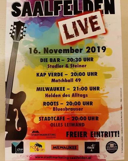 Olles Leiwand spielt Livemusik - Austropop - im Stadtcafe Saalfelden