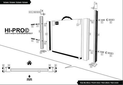 Schéma détaillé du kit de protection inondation placé directement dans les ouvertures