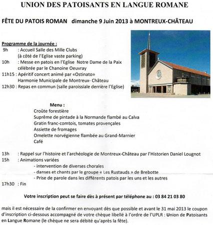 Fête du patois roman – Dimanche 9 juin 2013 - Programme de la journée