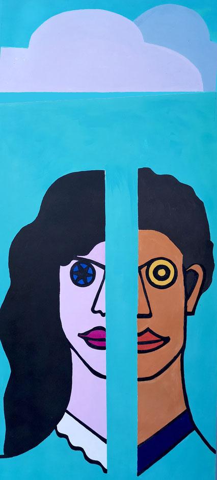 sabine odenthal stele kultur und corona virus koenigssommer 2020 koenigswinter open air kunstausstellung gemeinsam abstand halten