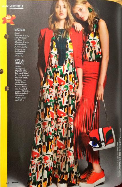 Juergen Christian Hoerl dress and top - WOMAN Magazine print Designer Fashion