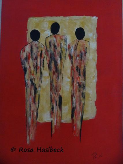 acrylbild, menschen rot, schwarz, ocker, bild, lunst, licht, weg, abstrakt