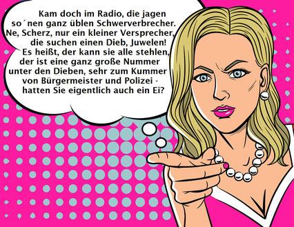Comicbild, Frau mir schulterlangen graublonden Haaren, blaue Augen, pinkfarbene Lippen, weiße Knopfohrringe, weiße Kungeln-Halskette, pinkfarbenes Oberteil mit weißem Rand,rechterZeigefinger ausgestreckt nach vorne weisend