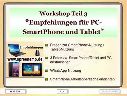 Kopplung PC mit SmartPhone und Dateiübertragung; WhatsApp-Nutzung