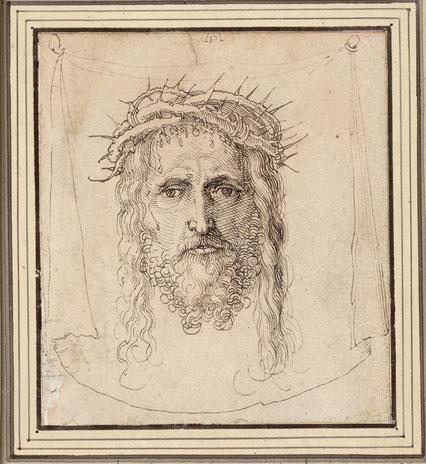 (Bild 9) Albrecht Dürer (zugeschrieben), Das Schweißtuch der Veronika, um 1513/1515 (?), Federzeichnung, 11,8 x 10,6 cm, Inv.Nr. 3132, Albertina / Wien