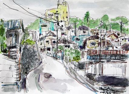 神奈川県・真鶴町の高台の家々