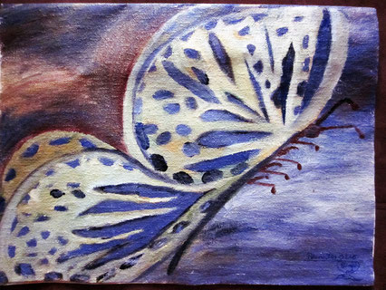 """""""Schmetterling"""" auf Pappmasche gemalt, mit Acrylfarbe"""