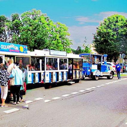 Die Touristenbahn von Swinemünde fährt die Besucher zur Besichtigung durch den Kurort.