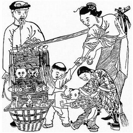 Marchand de jouets. Alphonse FAVIER (1837-1905) : Péking. Description. — Desclée de Brouwer, Paris, Lille, 1902, pages 271-408.