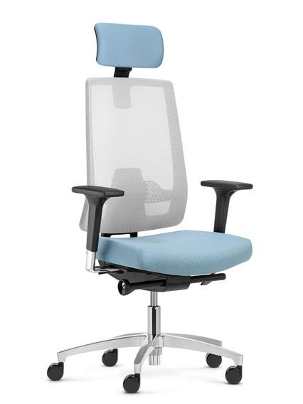Dauphin Human Design Group, Drehstuhl, Indeed, Netzstuhl, Operator Stuhl, Markteinstieg, Ausschreibungsstuhl, höhenverstellbare Rückenlehne, tiefenverstellbare Lordose, Kopfstütze, Schiebesitz, integrierte Sitzneige