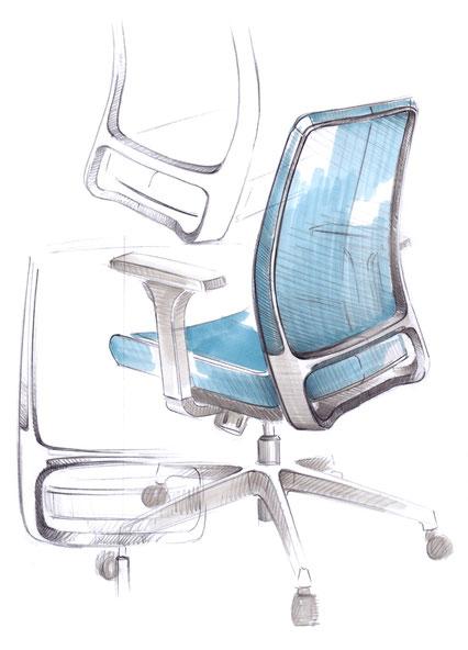Comfordy, Drehstuhl, Ideenskizze, swivel chair, ideation sketch