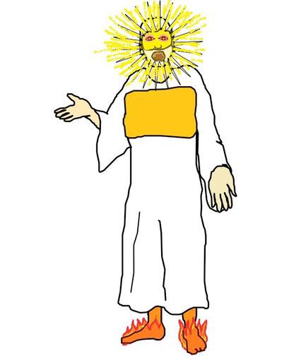 Jésus se présente resplendissant de puissance et de lumière à Jean. Cette vision est d'une telle intensité que Jean tombe aux pieds de Jésus, comme mort. son visage était comme le soleil quand il brille dans toute sa force.