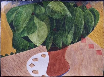 francois beaudry gouache et aquarelle peinture nature morte série table bleue étude 6