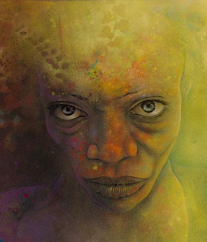 beeindruckendes urban Art Portrait Kunstwerk in Mischtechnik