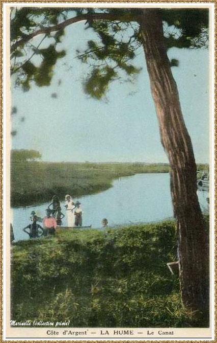 Gujan-Mestras autrefois : La Hume, le Canal des Landes, Bassin d'Arcachon (carte postale, collection privée)