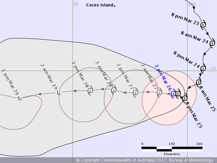 Track map of Tropical Cyclone Caleb in the Indian Ocean. From www.bom.gov.au