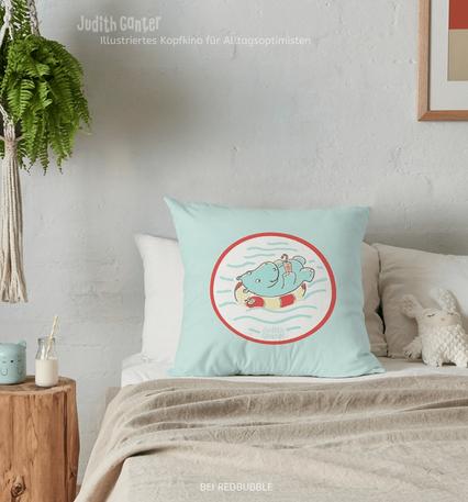 Kissen mit Tiermotiven – Nilpferd Flusspferd Schwimmreif lustig – Illustration Judith Ganter – bei Redbubble – Globaler Online-Marktplatz für Print-on-Demand-Produkte - Geschenkideen mit Bildern