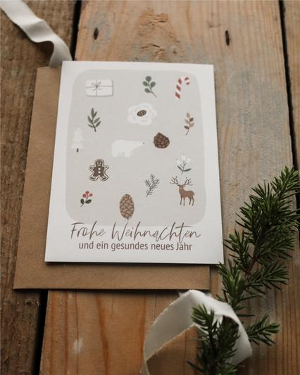 Weihnachtspostkarte Frohe Weihnachten