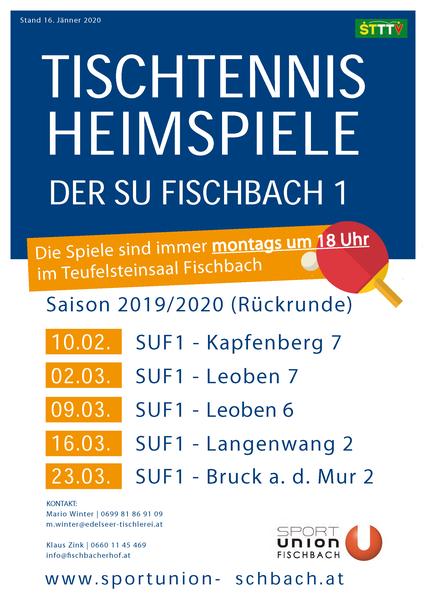 Heimspiel Termine SUF1 Rückrunde 2019/2020