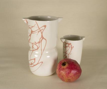 Coral porcelain vase