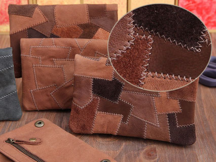 Tabaktaschen aus Leder in Patchwork Nubukleder Wildleder