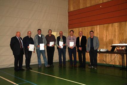 v.l.n.r.: Günter Hübinger, Rüdiger Ortseifen, Volker Reichwein, Heribert Heinz, Wolfgang Gebauer, Albrecht Gehlbach, Günter Stendebach