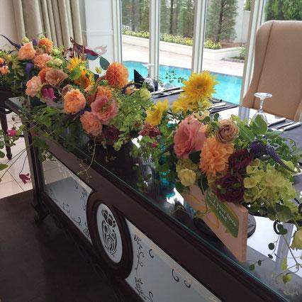 福井のウェディング 結婚式 ブライダル 花ひろ ブーケ 和装 花屋 オレンジ 装花